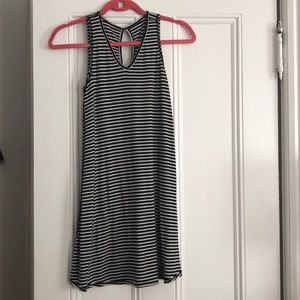 Black and white stripe cotton dress